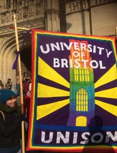 Bright banner with words 'University of Bristol UNISON'